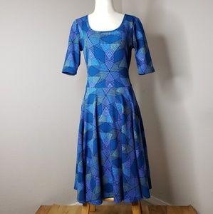 Blue geometric print Lularoe dress